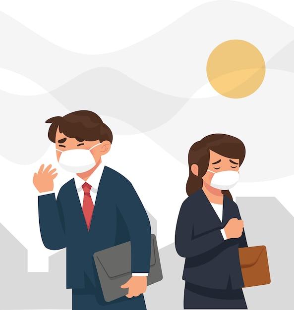 Pessoas vestindo mascar porque poluição da cidade Vetor Premium