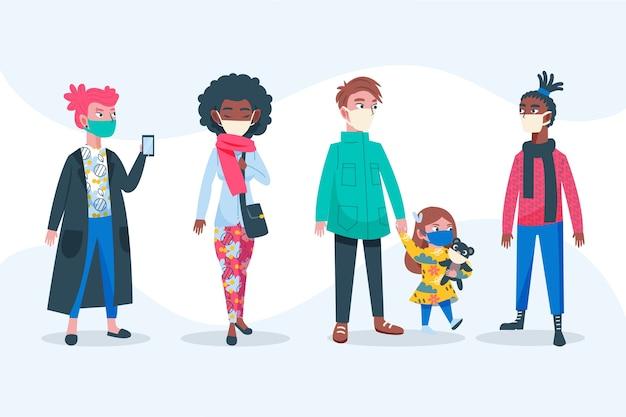 Pessoas vestindo máscara médica adultos e criança Vetor grátis