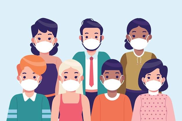 Pessoas vestindo máscara médica Vetor grátis