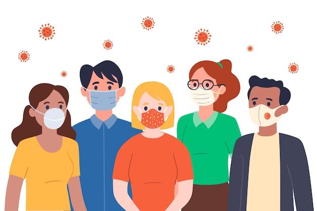 Pessoas vestindo máscaras Vetor Premium