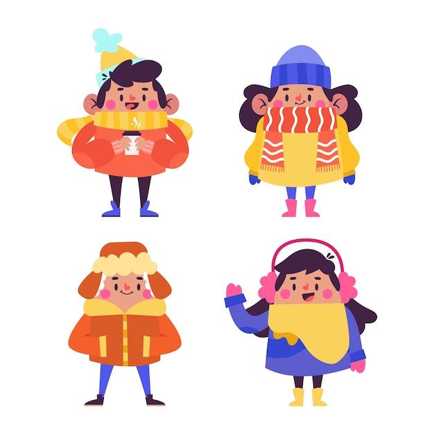 Pessoas vestindo roupas de inverno Vetor grátis