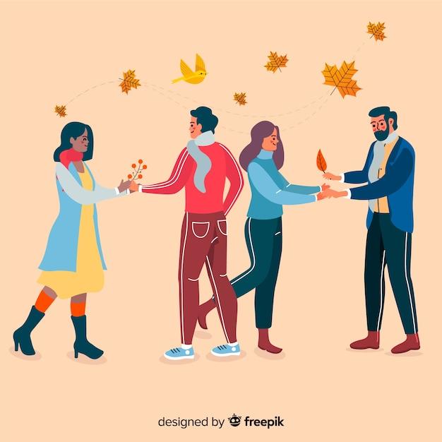 Pessoas vestindo roupas de outono Vetor grátis