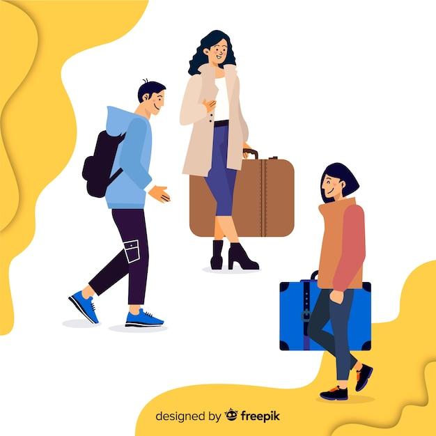 Pessoas viajando coleção Vetor grátis