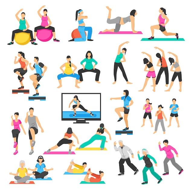 Pessoas yoga ginástica aeróbica set Vetor Premium