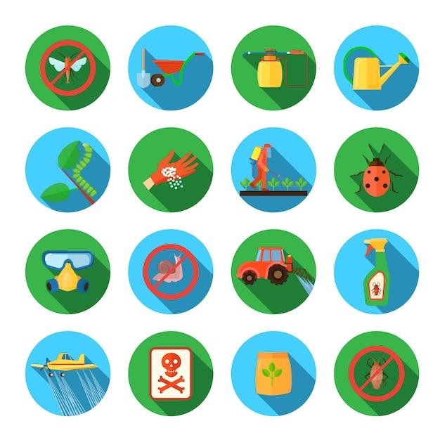 Pesticidas e agricultura sombra redonda conjunto de elementos isolados vector plana ilustração Vetor Premium