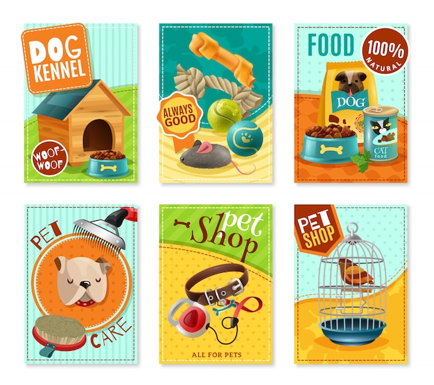 Pet care 6 mini banners set Vetor grátis