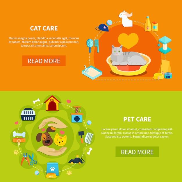 Pet care banners Vetor Premium