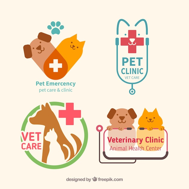 Pet clínica pacote logos plana Vetor grátis