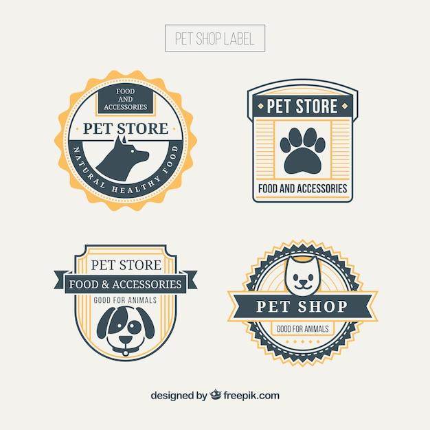 Pet emblemas da loja com detalhes amarelos Vetor grátis