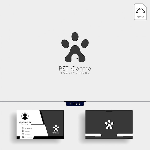 Pet home ou loja modelo de logotipo criativo com cartão de visita Vetor Premium
