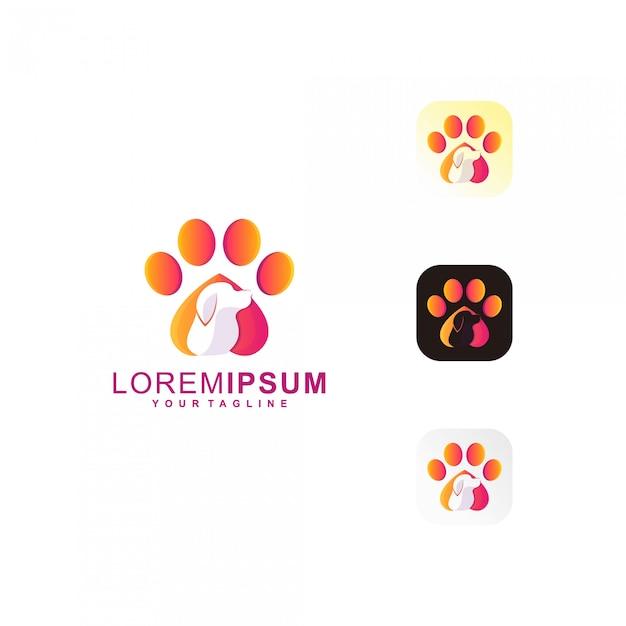 Pet paw premium logo Vetor Premium