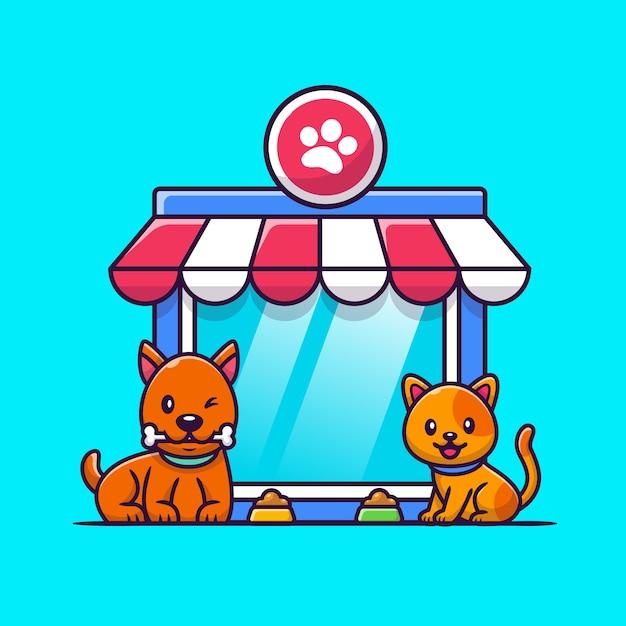 Pet shop cão e gato ícone ilustração. conceito de ícone de animais. Vetor Premium