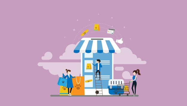 Pet shop pessoas pequenas personagem ilustração Vetor Premium