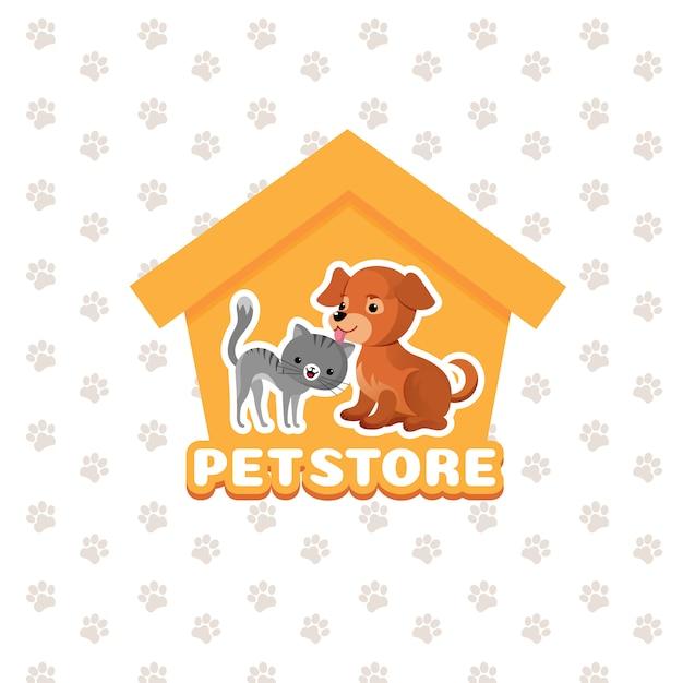 Pet shop vector fundo com animais de estimação feliz Vetor Premium