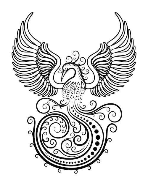Phoenix Bird Tattoo Ornament Decoration Vetor Premium