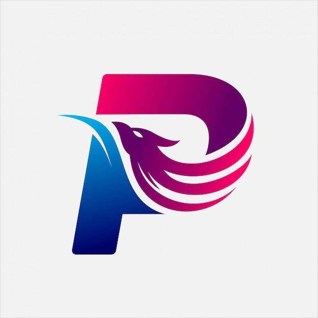 Phoenix letra p Vetor Premium