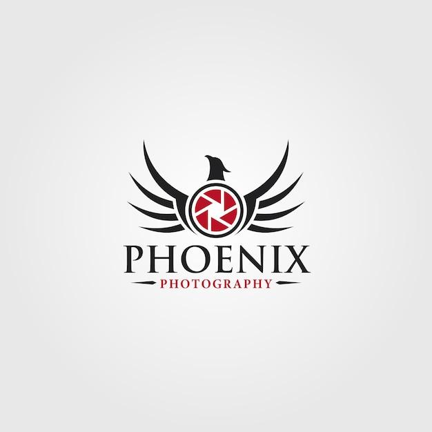 Phoenix - modelo de logotipo de estúdio de fotografia Vetor Premium