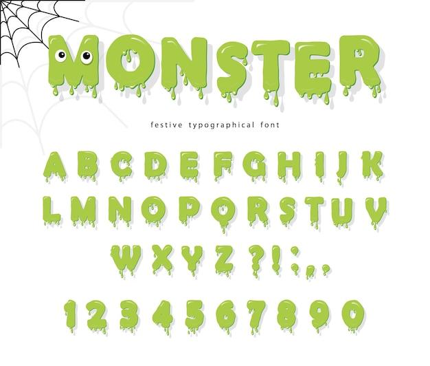 Pia batismal bonito do monstro de halloween para miúdos. Vetor Premium