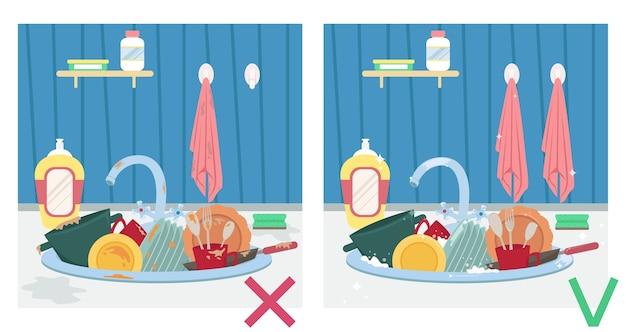 Pia de cozinha com pratos sujos e pratos limpos. ilustração antes e depois. tarefas domésticas. Vetor Premium