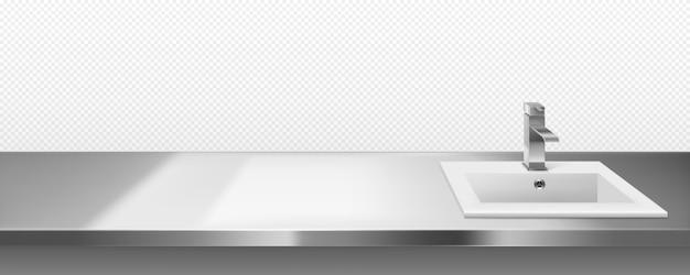 Pia de metal com torneira para cozinha ou banheiro Vetor grátis