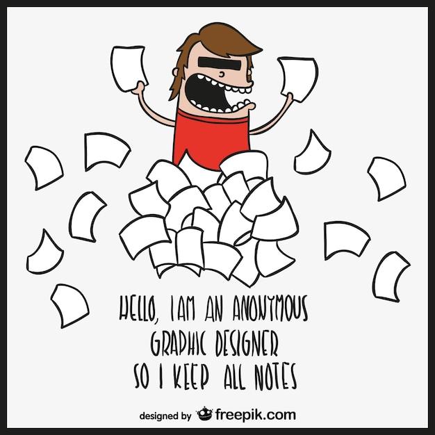 Piada desinger vetor dos desenhos animados Vetor grátis