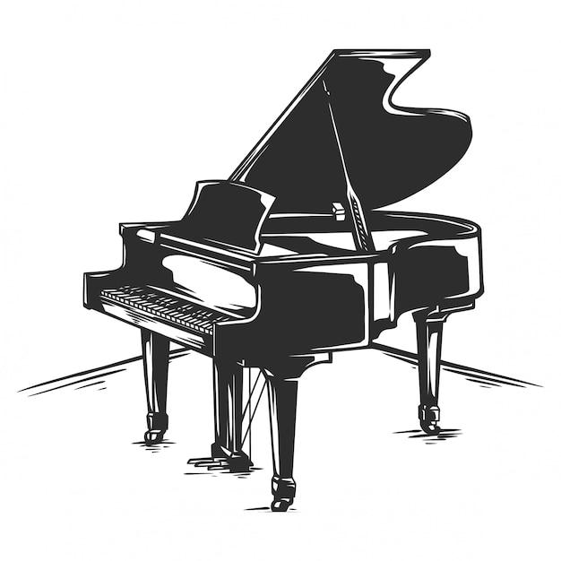 Piano de cauda clássico preto e branco Vetor Premium