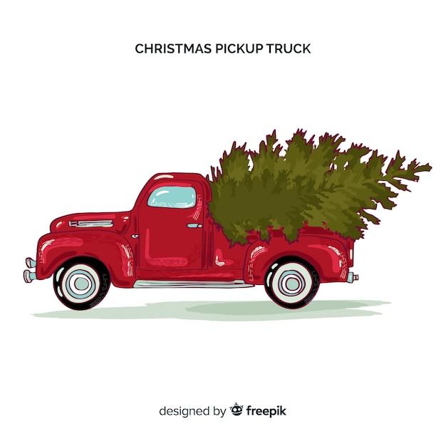 Pick-up com árvore de natal Vetor grátis