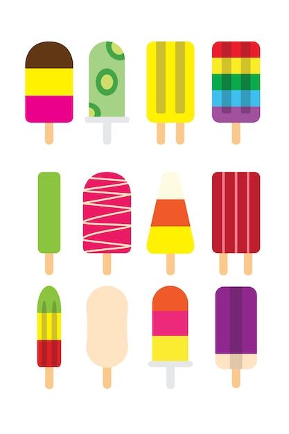 Picolés de verão colorido sorvete ficar com leite, chocolate, menta e suco de frutas congeladas sabor coleção design plano símbolo ícone. Vetor Premium