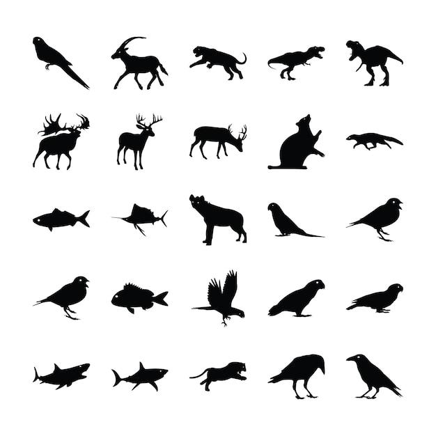 Pictogramas de animais preenchidos Vetor Premium