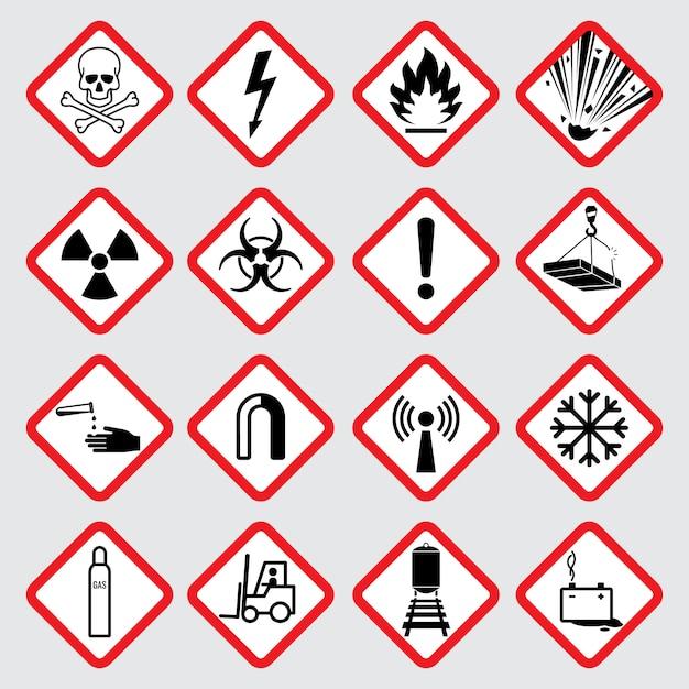 Pictogramas de aviso de perigo vector Vetor Premium