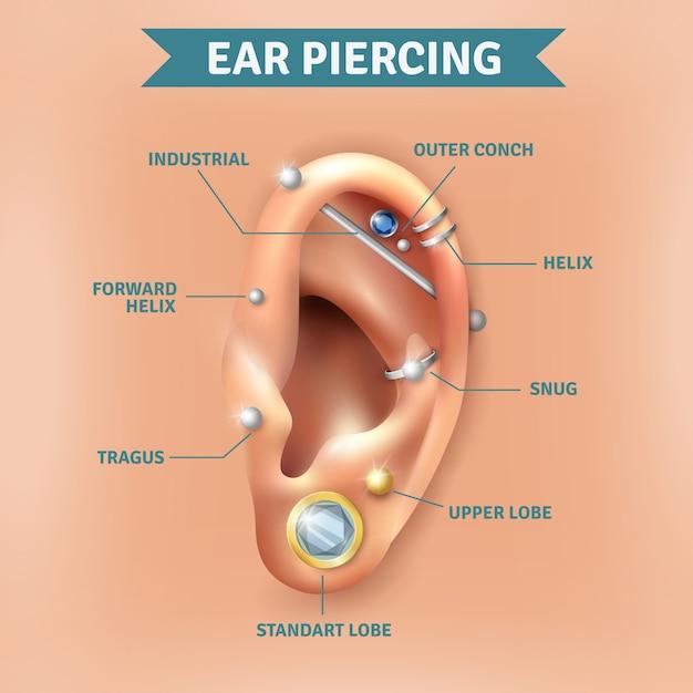Piercing de ouvido tipos posições fundo poster Vetor grátis