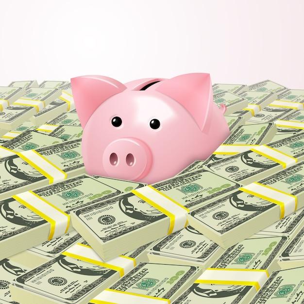 Piggybank em pilha de dinheiro Vetor grátis
