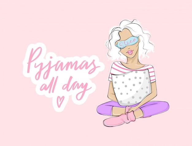 Pijama o dia todo. ilustração de festa do pijama com mulher jovem e bonita, menina sentada com um travesseiro na máscara de dormir. fundo rosa Vetor Premium