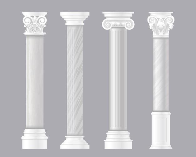 Pilares antigos. conjunto arquitetônico de roma ou colunas clássicas de mármore grego, colunas antigas Vetor Premium
