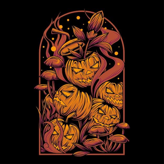 Pilha assustadora de abóboras de halloween com caixilhos Vetor Premium