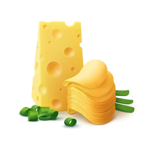 Pilha de batata frita crocante com queijo e cebola close-up isolado no branco Vetor Premium