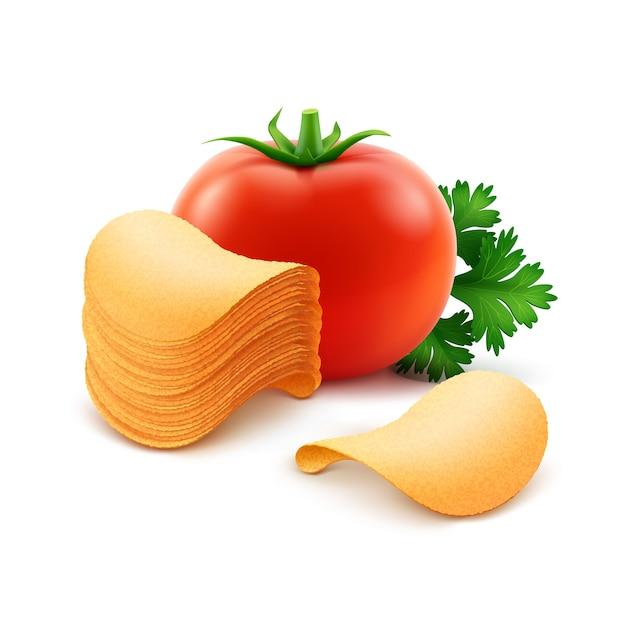 Pilha de batatas fritas crocantes com tomate vermelho close-up isolado no fundo branco Vetor Premium