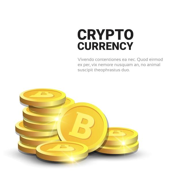 Pilha de bitcoins dourados realistas no fundo branco com conceito da moeda da criptografia do dinheiro de digitas da correia fotorreceptora do espaço da cópia Vetor Premium