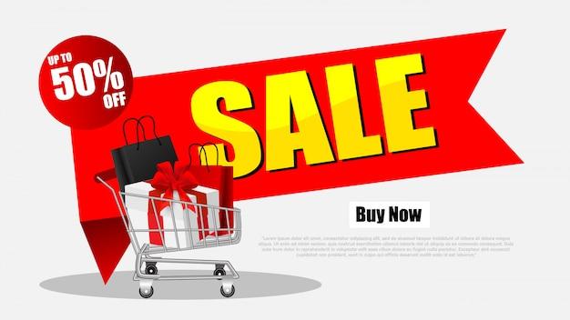 Pilha de compras black sexta-feira venda com carrinho de compras e sacos Vetor Premium
