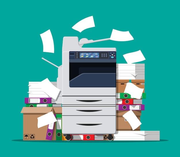 Pilha de documentos em papel e impressora Vetor Premium