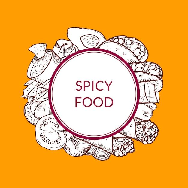 Pilha de elementos de comida mexicana esboçada sob círculo com lugar para texto Vetor Premium