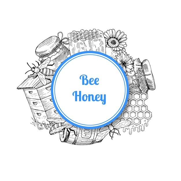 Pilha de elementos de mel mão desenhada reunidos sob o círculo com lugar para texto e sombra Vetor Premium
