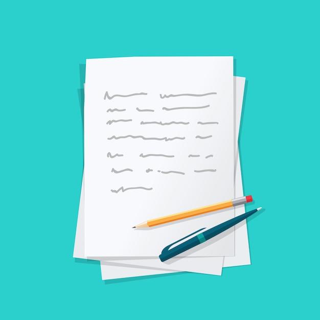 Pilha de folhas de papel com texto de conteúdo abstrato com caneta e lápis Vetor Premium