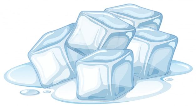 Pilha de gelo derretendo em branco Vetor grátis