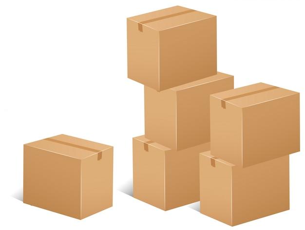Pilha de ilustração das caixas de papelão Vetor grátis