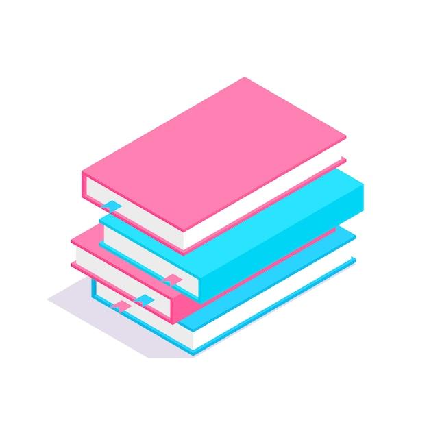 Pilha de livros 3d isométrica. conceito de aprendizagem e educação. Vetor Premium