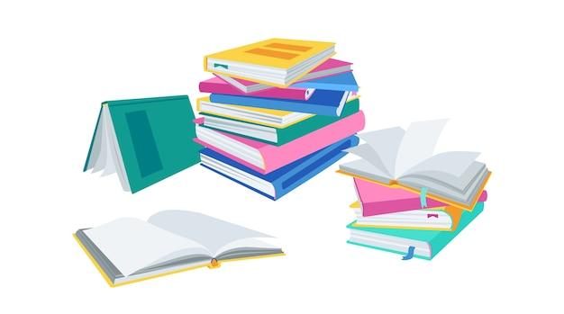 Pilha de livros abertos, com marcadores. pilha plana de literatura da coleção de livros. ilustração de desenho animado Vetor Premium