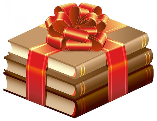 Pilha de livros amarrado a fita. presente de livros Vetor Premium