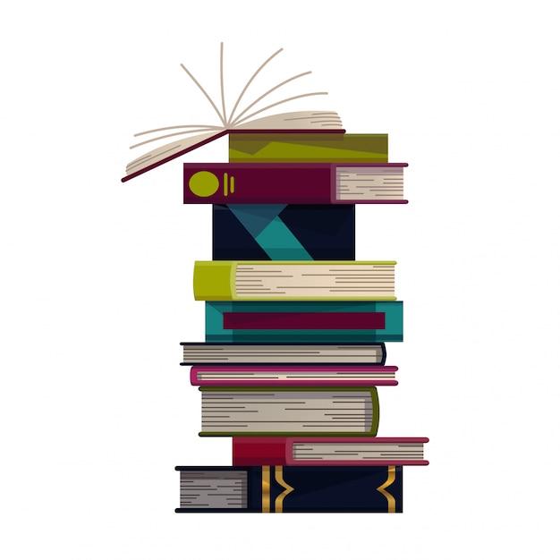 Pilha de livros coloridos em um fundo branco. pilha de livros de educação. ilustração em estilo simples. conceito de conhecimento. ler, aprender e receber educação através de livros Vetor Premium