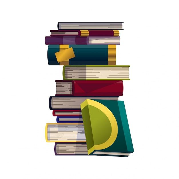 Pilha de livros coloridos em um fundo branco. pilha de vetor de livros de educação. ilustração em estilo simples. conceito de conhecimento. ler, aprender e receber educação através de livros Vetor Premium